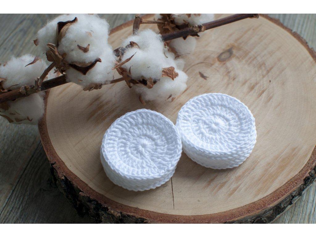 Sada bielych 10 ks ZERO WASTE háčkovaných odličovacích tampónov z biobavlny ŽIVOT bez ODPADU