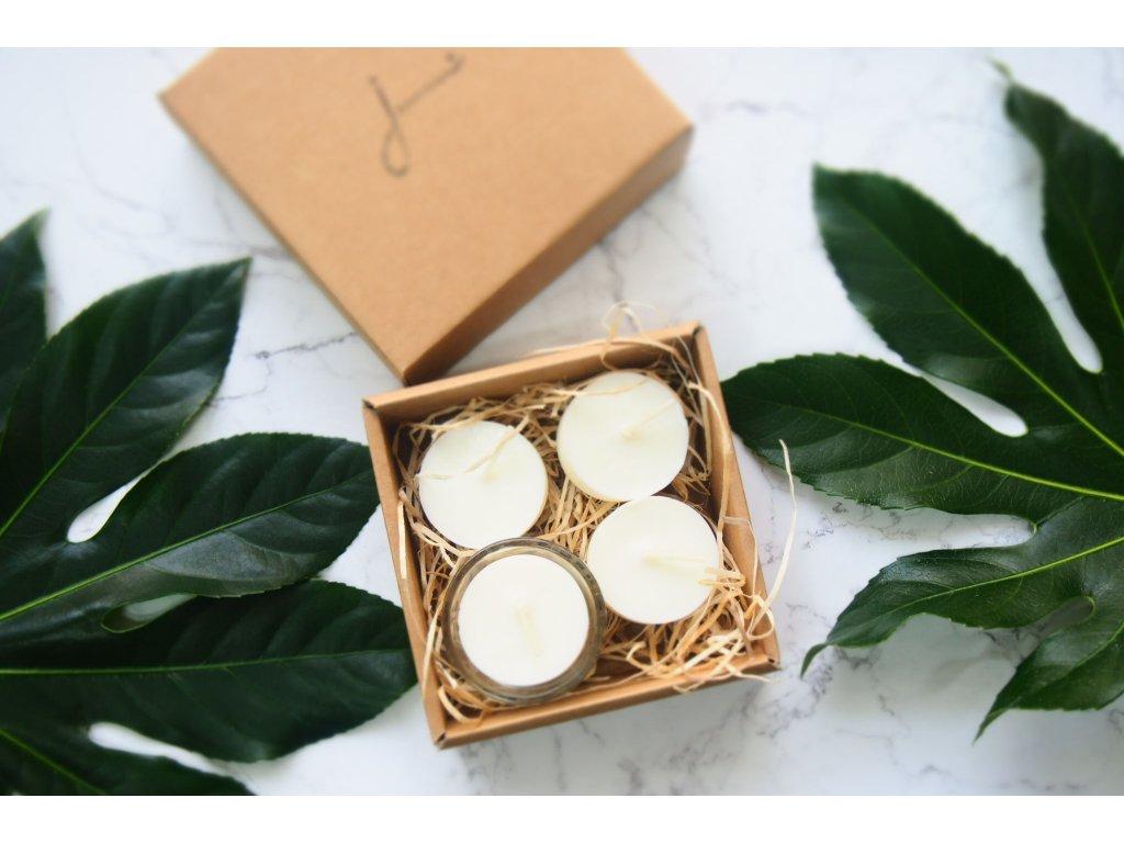 Bezodpadové čajové sviečky Jemnô so skleneným svietnikom (4 ks) Jemnô zivotbezodpadu 1