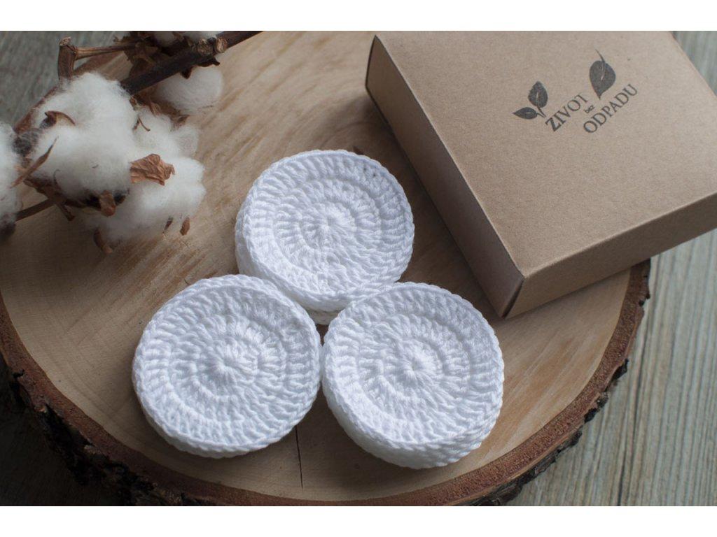 Sada ZERO WASTE bielych háčkovaných odličovacích tampónov z biobavlny ŽIVOT bez ODPADU
