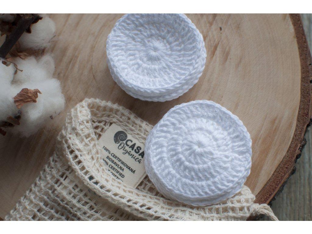 Sada 10 ks bielych háčkovaných tampónov v sieťovanom vrecúšku ŽIVOT bez ODPADU 2