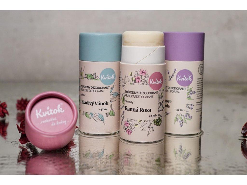 Tuhý dezodorant Ranná Rosa dámsky prírodný dezodorant Kvitok