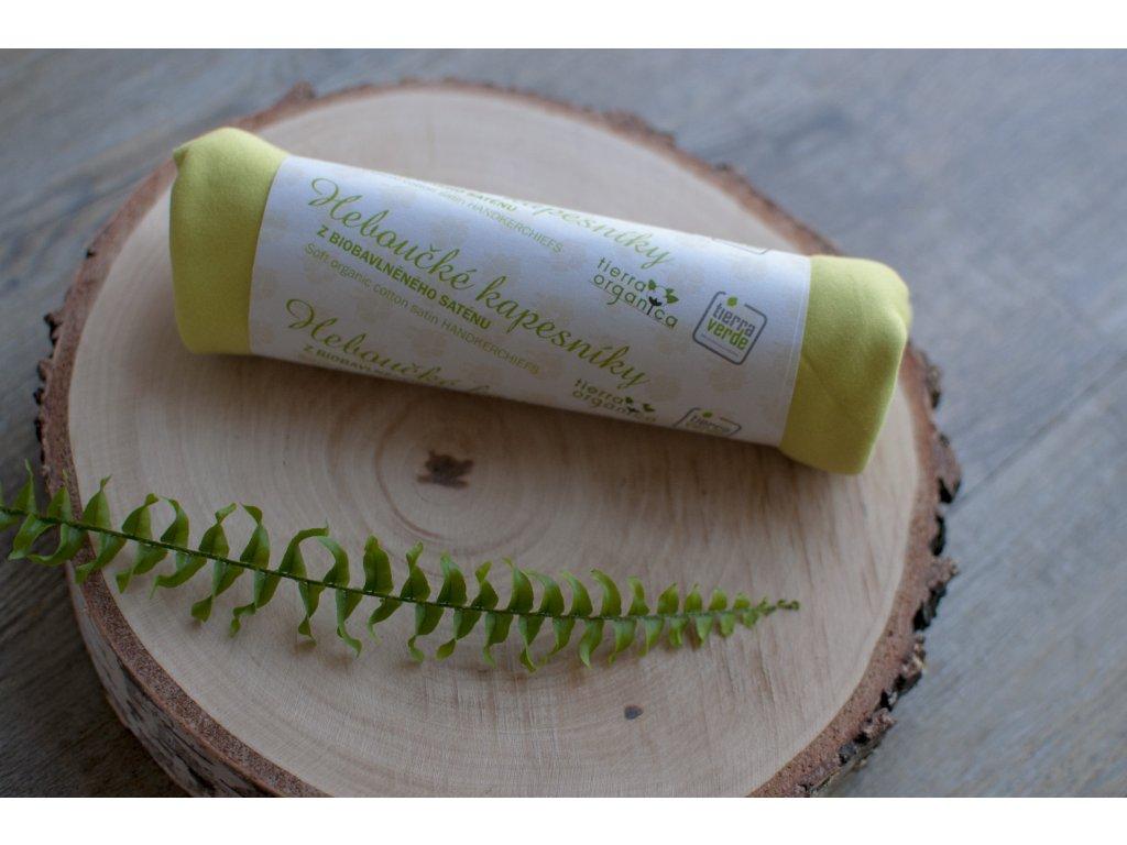 Dámske hebučké vreckovky z biobavlneného saténu - limetka 6 ks CASA Organica / Tierra Verde