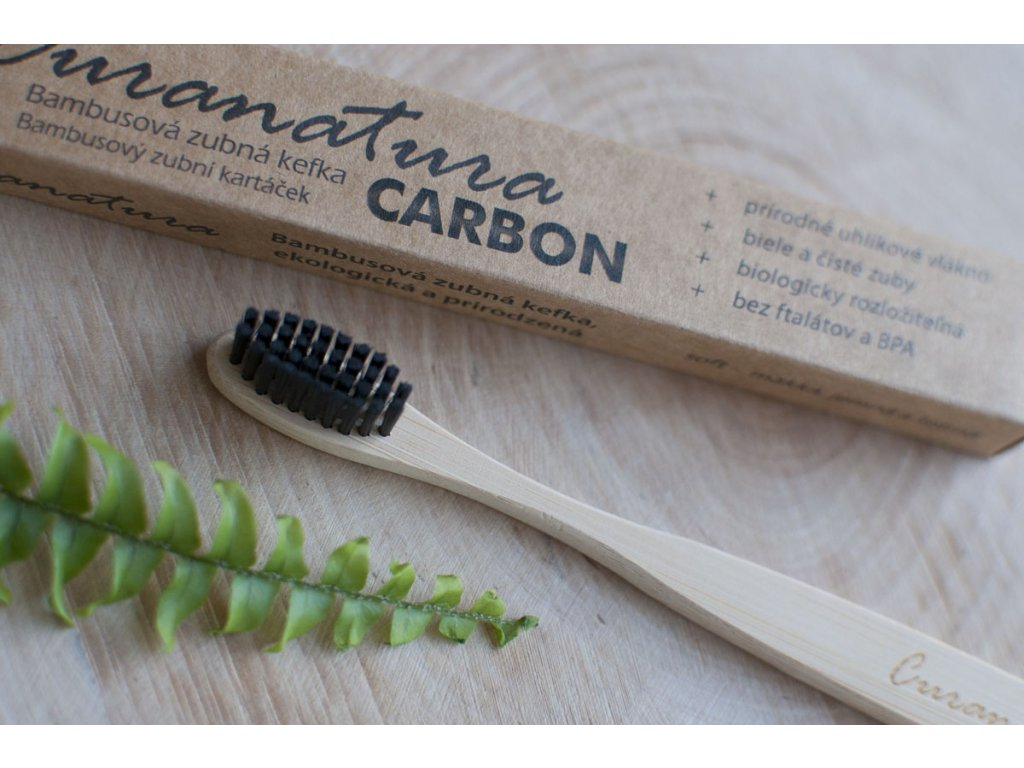 Bambusová zubná kefka CARBON - Curanatura