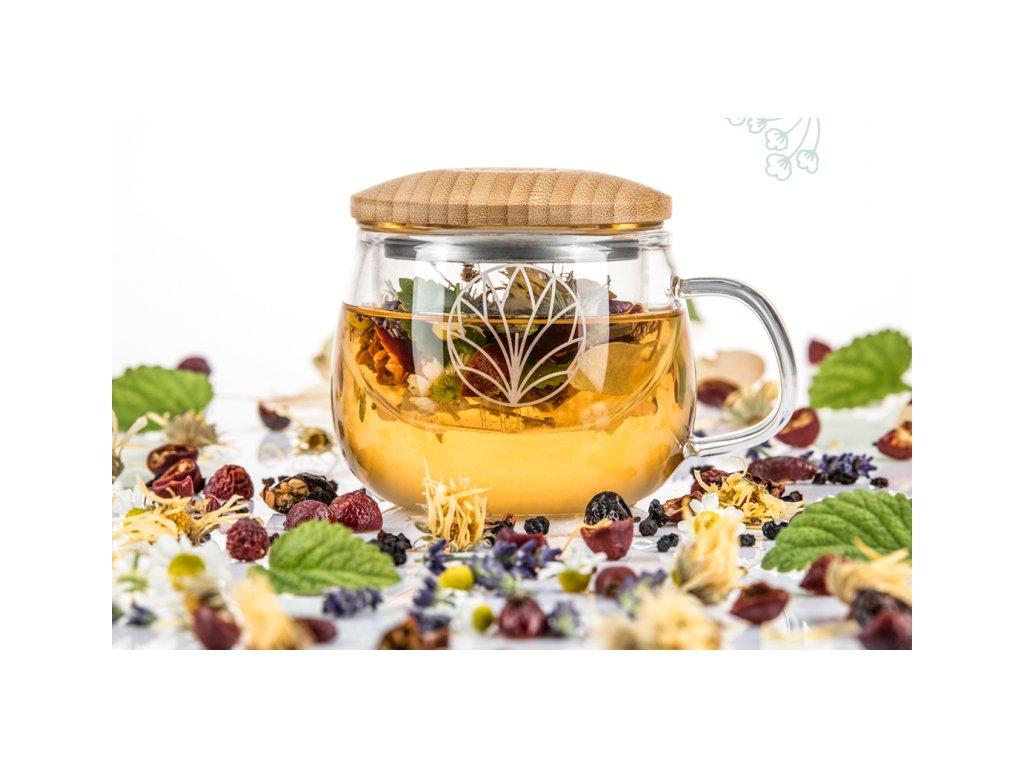 Sklenená šálka na čaj Angelica FLAŠKA 1