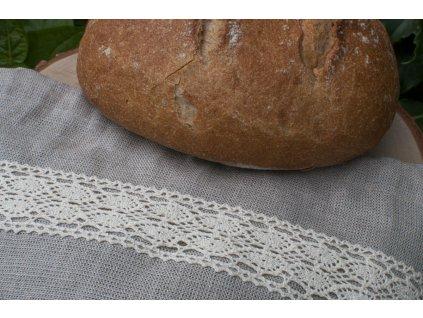 Ľanové vrecúško na chlebík s krajkou Vrecko na chlieb 6