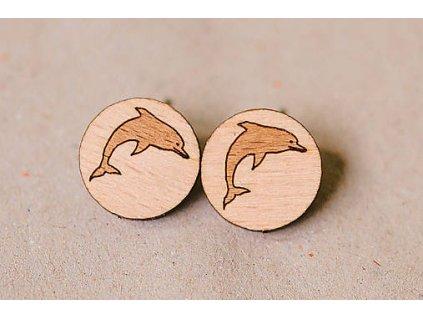 Drevené okrúhle napichovacie náušnice Delfíny Kreatvory