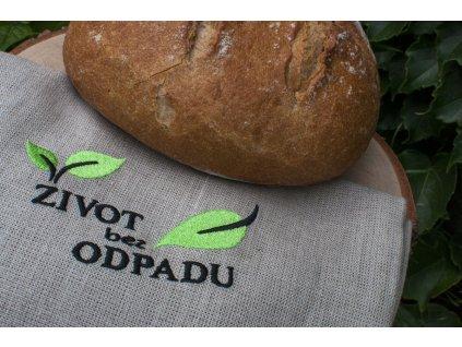 Ľanové vrecúško na chlebík s výšivkou ŽIVOT bez ODPADU Vrecko na chlieb 13