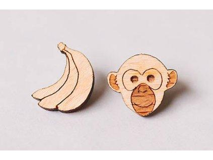 Drevené napichovacie náušnice Opica s banánom Kreatvory