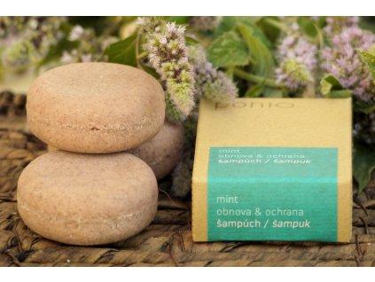 Šampúch Mint obnova & ochrana tuhý šampón Ponio 1