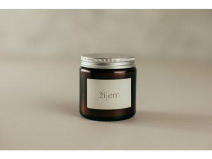 Žijem sójová sviečka v tmavom skle Jemnô