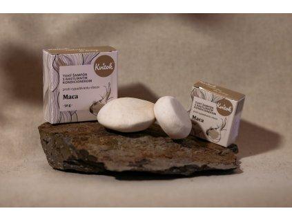 Tuhý šampón Maca s kondicionérom proti vypadávaniu vlasov Kvitok 1