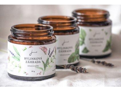 Bylinková záhrada - Levanduľa, Materina dúška a Šalvia - sójová sviečka Jemnô