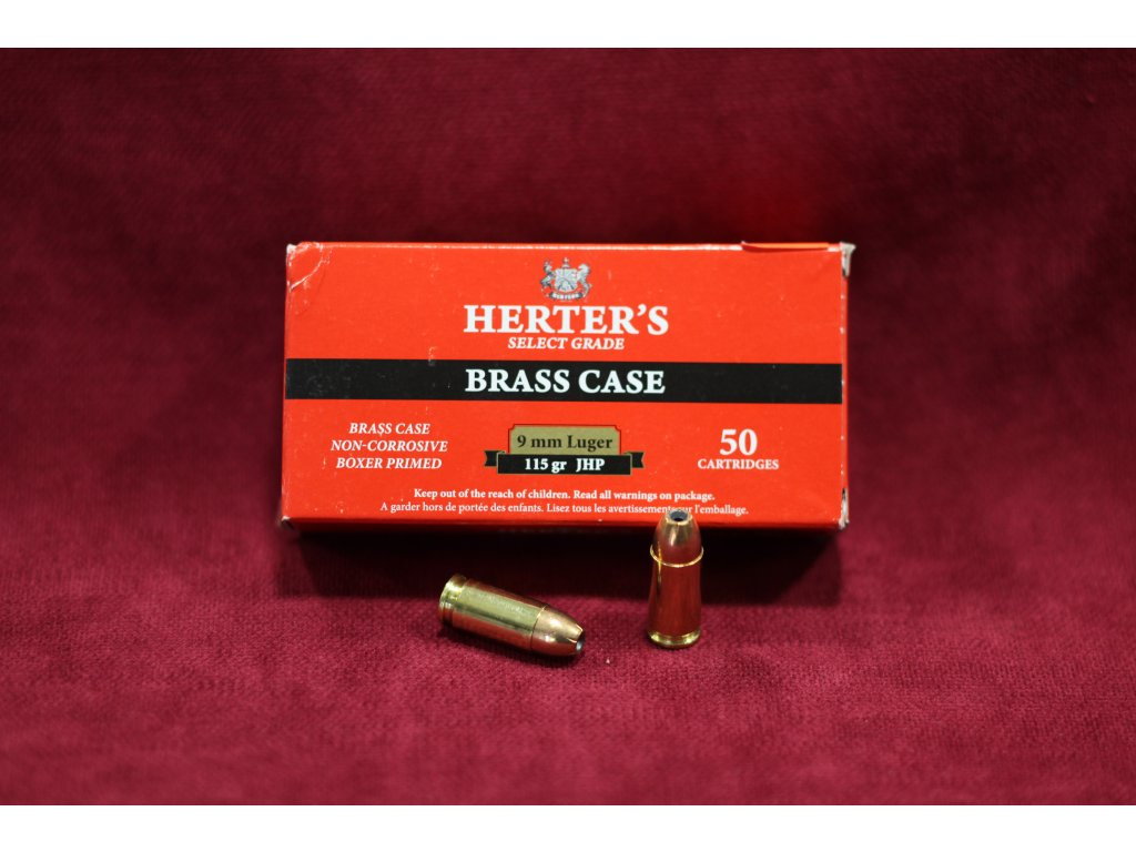 Náboj kulový S&B 9 mm Lug. JHP 7,5g