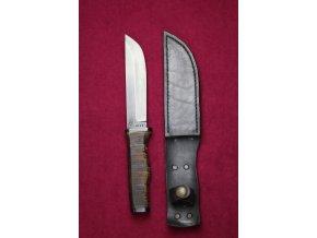 Nůž pevný černý, střenka kůže