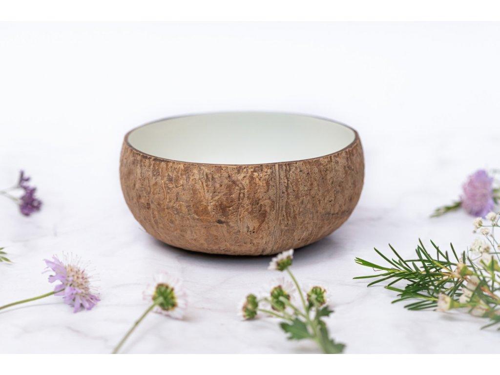 kokosova miska natural bila