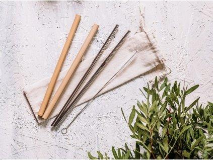 ocelová a bambusová brčka1