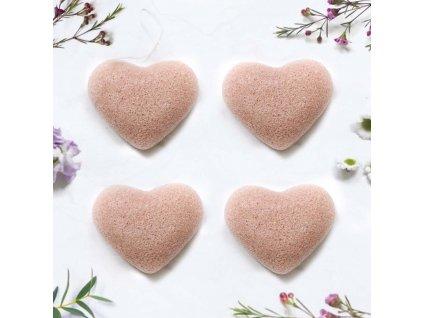 ruzovy jil konjakova spongie tvar srdce