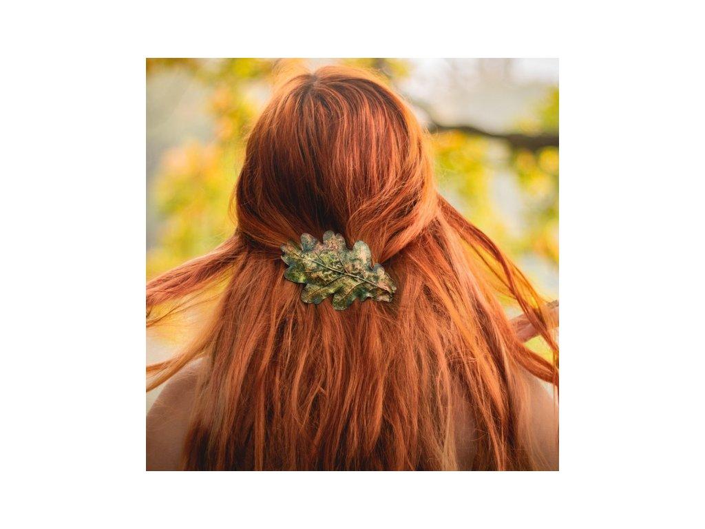 spona do vlasu dubovy list
