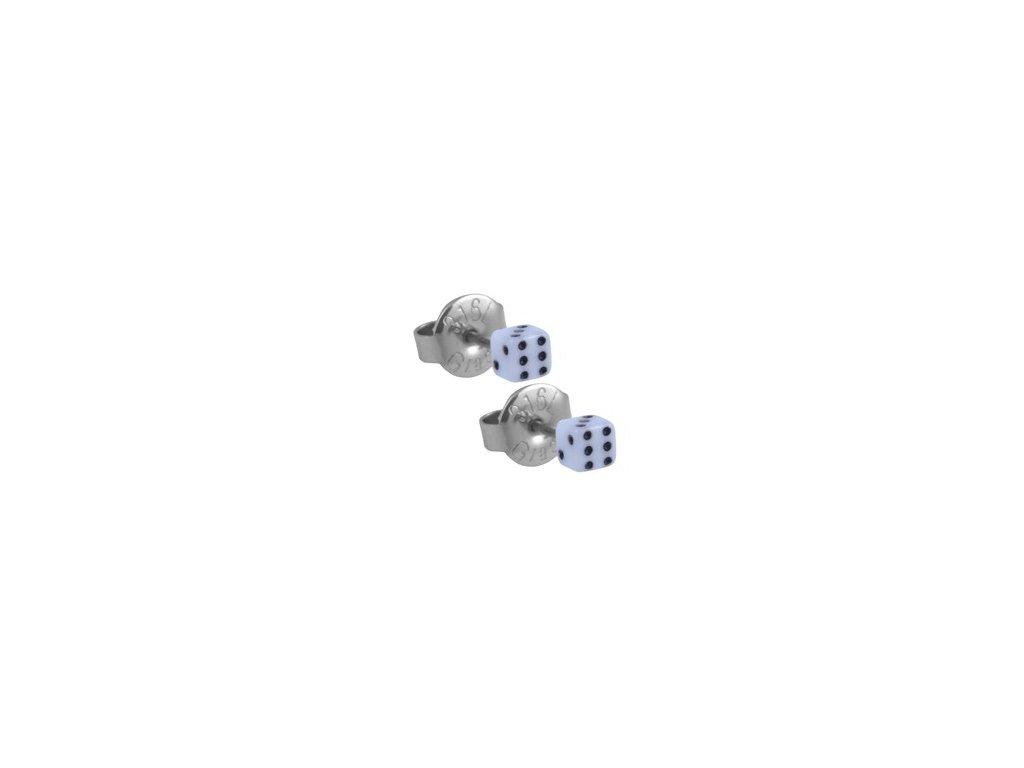 Ocelové náušnice - hrací kostky bílé 3 mm de14845aae2