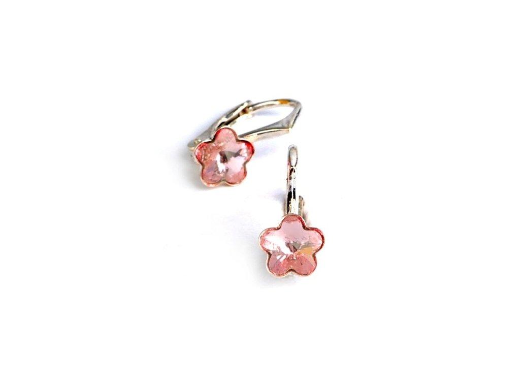 Dětské stříbrné náušnice Swarovski® elements – světle růžové kytičky 6 mm 4dfee3c6a44