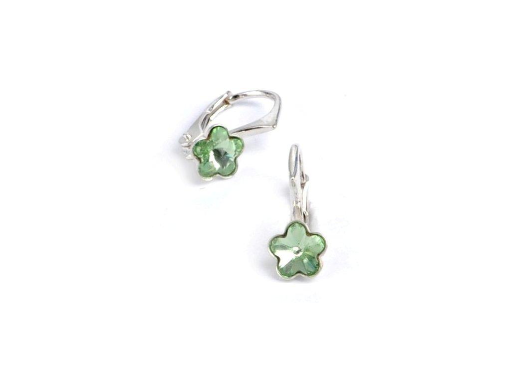 Dětské stříbrné náušnice Swarovski® elements – světle zelené kytičky 6 mm ff0d6b6c41b
