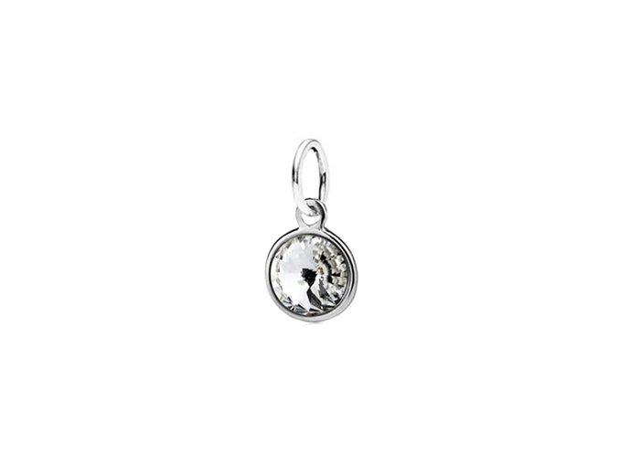 Dětský stříbrný přívěsek Swarovski® elements - čiré kolečko 6 mm