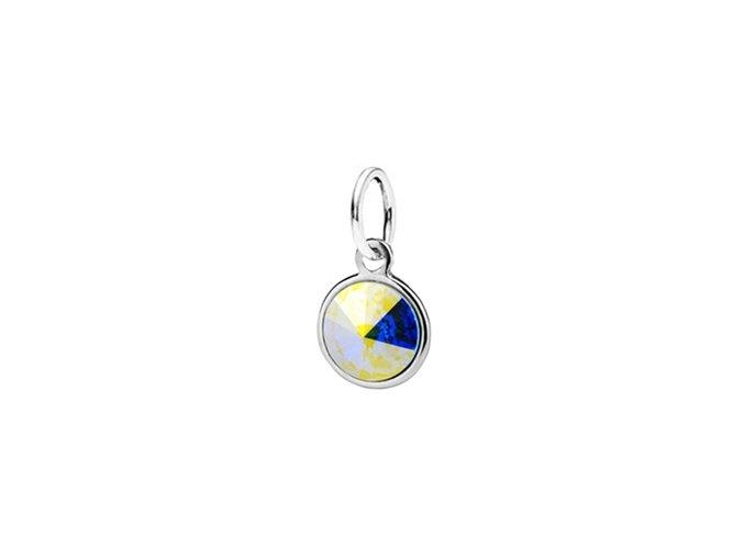 Dětský stříbrný přívěsek Swarovski® elements - duhové kolečko 6 mm