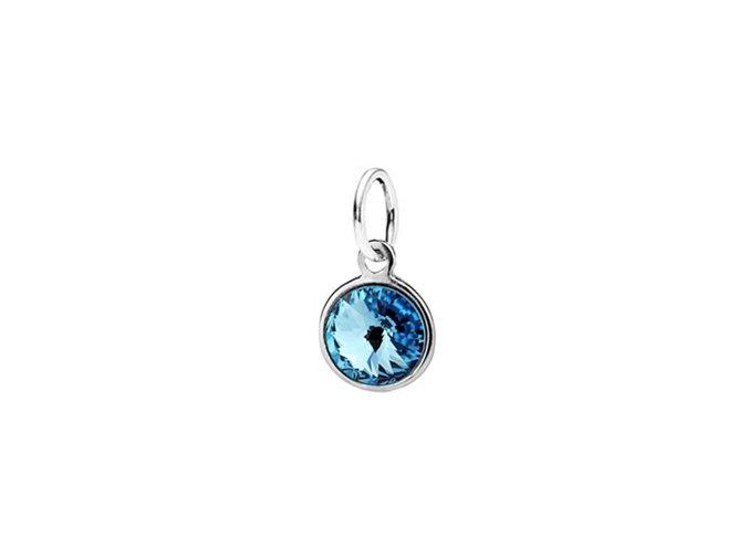 Dětský stříbrný přívěsek Swarovski® elements - modré kolečko 6 mm