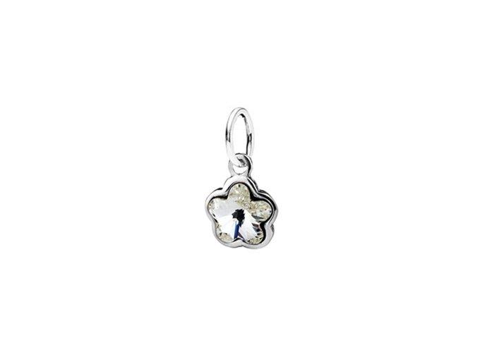 Dětský stříbrný přívěsek Swarovski® elements - čirá kytička 6,5 mm