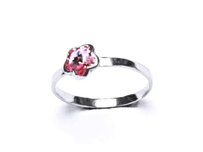 Stříbrný dětský prsten s krystalem Swarovski - kytička růžová