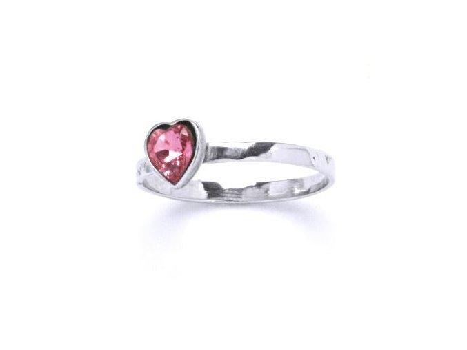 Stříbrný dětský prsten s krystalem Swarovski - srdíčko růžové