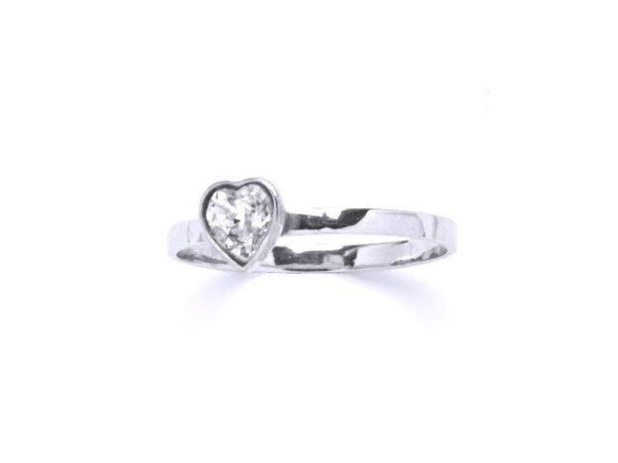 Stříbrný dětský prsten s krystalem Swarovski - srdíčko čiré