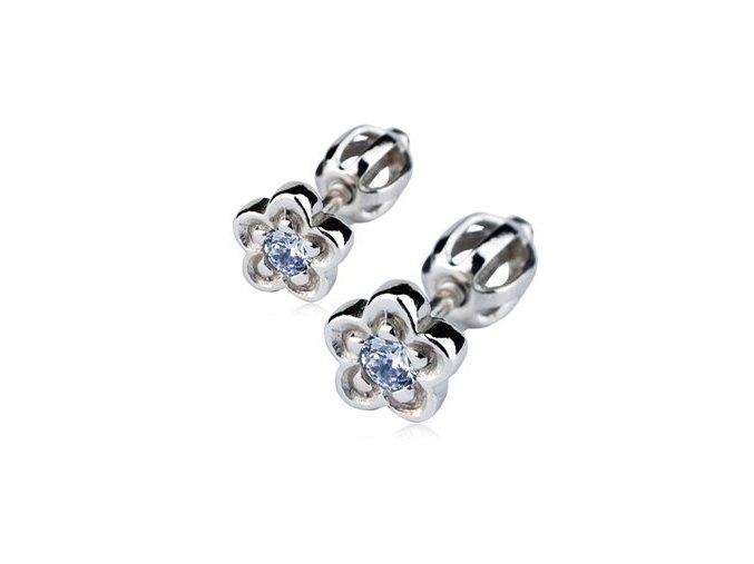 Stříbrné náušnice šroubovací - kytičky s modrým zirkonem 6 mm