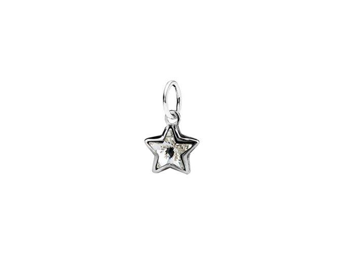 Dětský stříbrný přívěsek Swarovski® elements - čirá hvězdička 8 mm