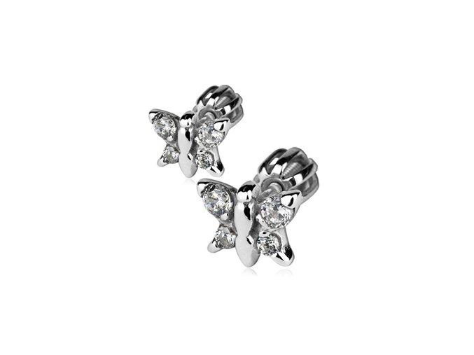 Stříbrné náušnice šroubovací - motýlci se zirkony 8x7 mm