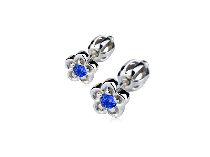 Stříbrné náušnice šroubovací - kytičky s tmavě modrým zirkonem 6 mm