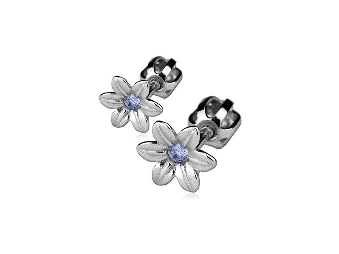 Stříbrné náušnice na šroubek - kytičky s modrým zirkonem 7 mm