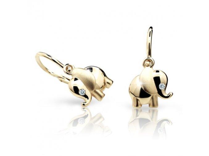 Dětské naušnice Cutie C1955-Z - sloni ze žlutého zlata
