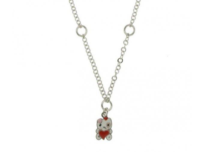 Dětský stříbrný náhrdelník s kočičkou