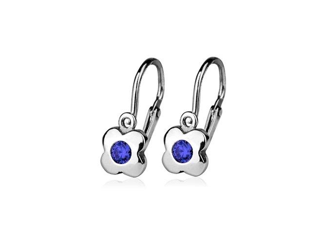 Dětské stříbrné náušnice kytičky s modrými zirkony 5 mm