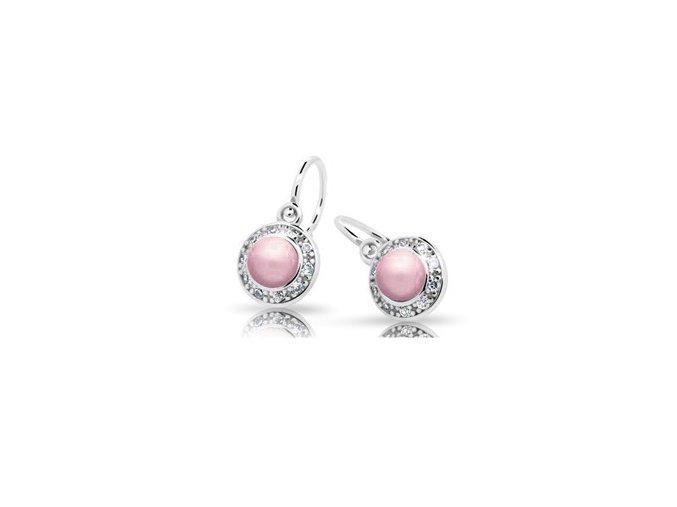 Dětské náušnice Cutie C2393-AG Rosaline - stříbrné s růžovou perlou