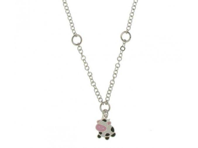 Dětský stříbrný náhrdelník s kravičkou