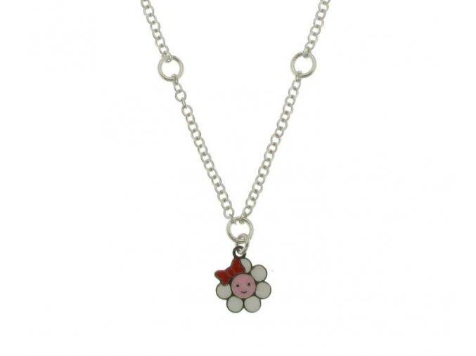 Dětský stříbrný náhrdelník s kytičkou