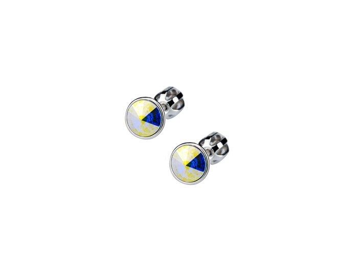 Stříbrné dětské náušnice s krystaly Swarovski - duhové kolečko