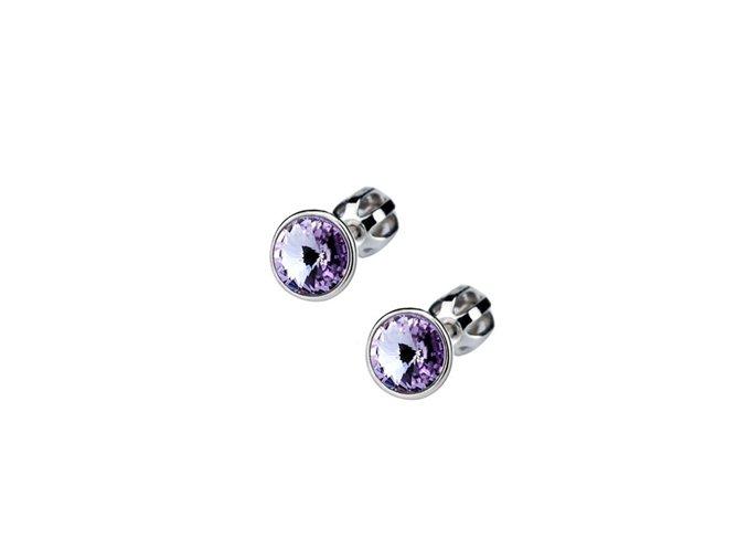 Dětské stříbrné náušnice s krystaly Swarovski - fialové kolečko
