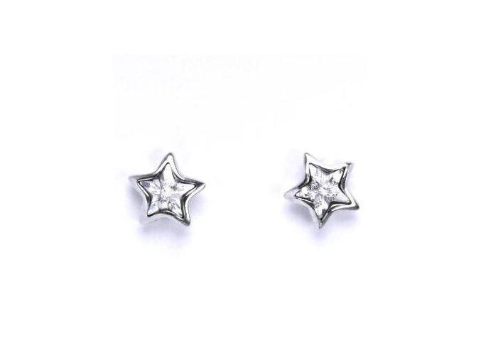 Stříbrné dětské náušnice s krystalem Swarovski - hvězdičky čiré 6 mm