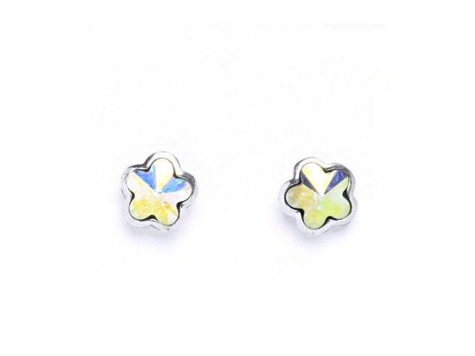 Stříbrné dětské náušnice s krystaly Swarovski - duhová kytička