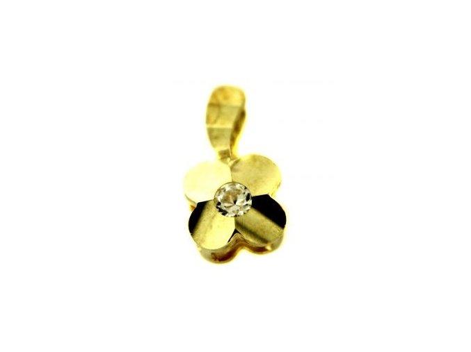 Zlatý přívěsek - čtyřlístek se zirkonem