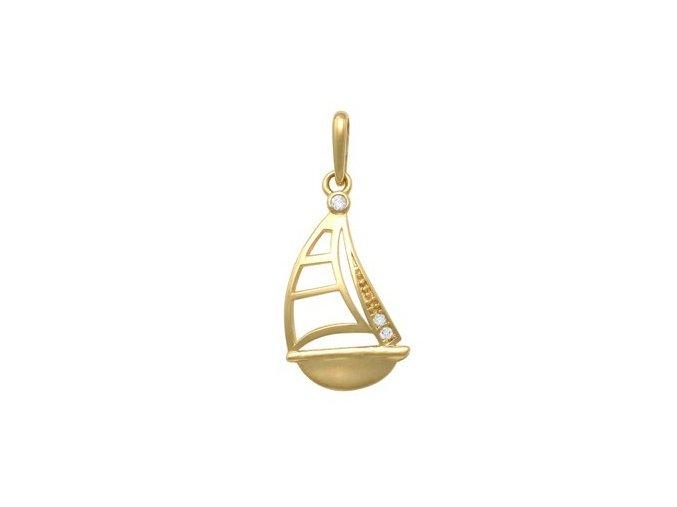 Zlatý dětský přívěsek - lodička