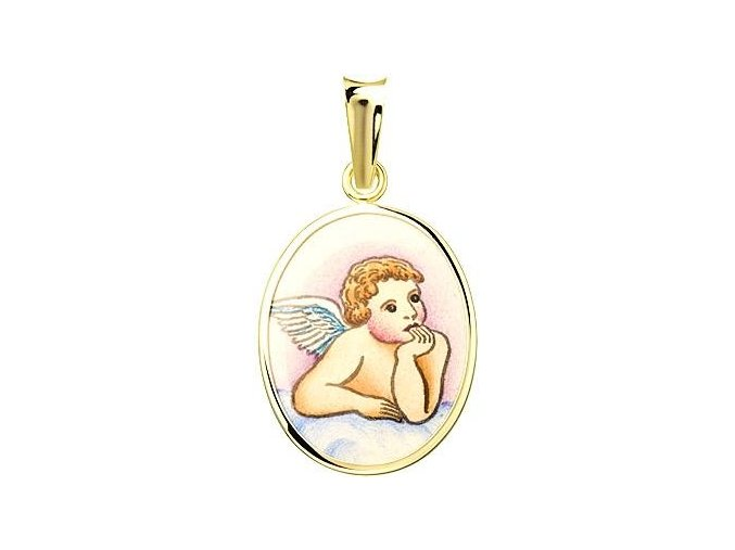 Dětský přívěsek - ochranný andílek, žluté nebo bílé zlato